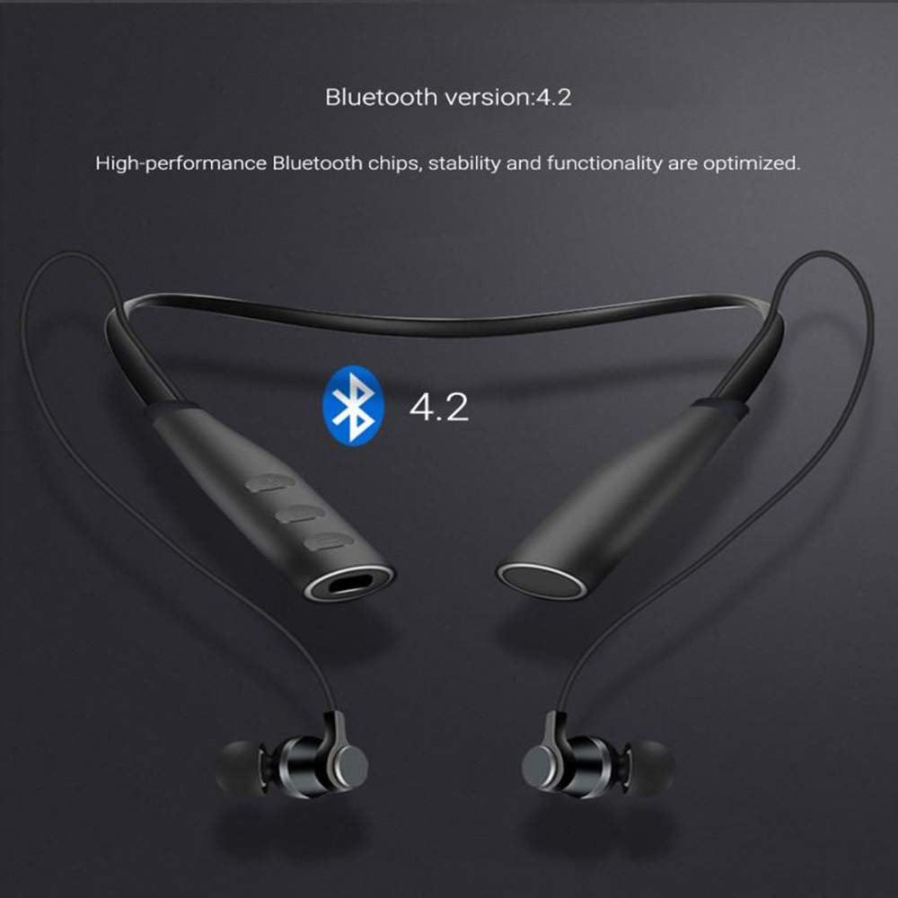 2019 Wireless Outdoor Neckband Headset Bluetooth 4.2 Sport Calling Bluetooth Earphones for Running for Gym TF Card Earpiece with MP3 Player New in Ear Design Lightweight Auriculares cuffie(Black)
