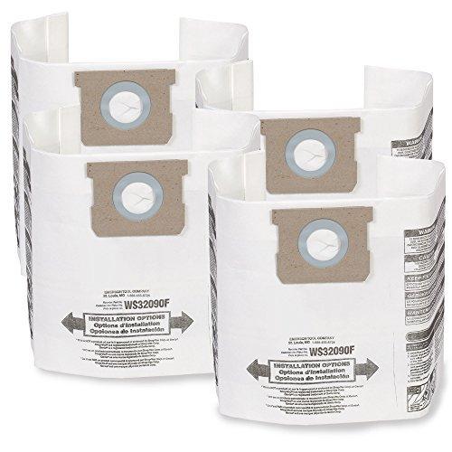 WORKSHOP Wet Dry Vacuum Bags WS32090F2 Fine Dust Collection Shop Vacuum Bags (/ 4 Shop Vacuum Bags), Bag Filter For WORKSHOP 5-Gallon To 9-Gallon Shop Vacuum Cleaners by WORKSHOP Wet/Dry Vacs