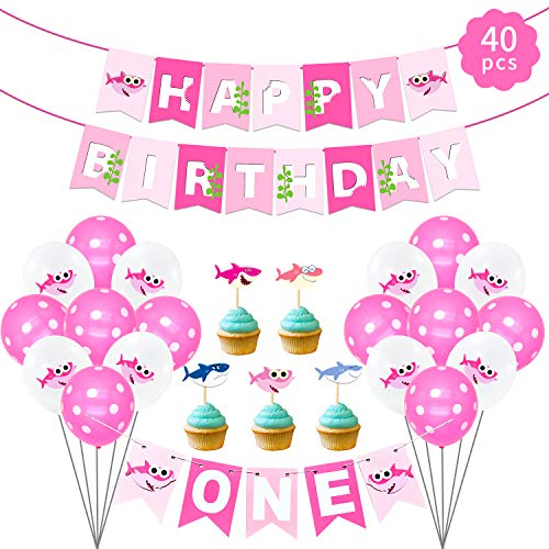 Baby Girl First Birthday Themes (Baby Girls 1st Birthday Decorations Set-Baby Shark Baby Girls Birthday Party Supplies,Ocean Theme Birthday Party,Happy Birthday Baner,Baby Shark Balloons)