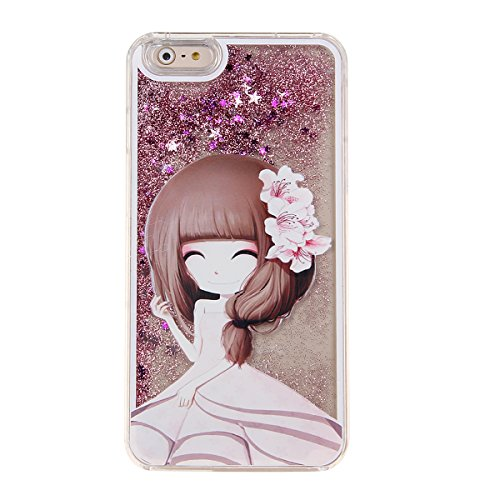 IKASEFU Glitter Case for Iphone 6,Creative 3d Cute Dress Girl Design Flowing Shiny Sparkle Star Liquid Hard Clear Case for Iphone 6 4.7