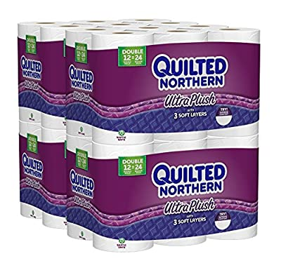 Quilted Northern Ultra Plush erBTZE Toilet Paper, Bath Tissue, 48 Double Rolls (Pack of 5)