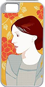 iPhone 4 4S Cases Customized Gifts Cover Profile of brunette woman with orange floral background Case for iPhone 4 4S by icecream design