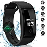 LogHog Fitness Tracker,Smart Sports Wrist Strap with Blood Oxygen Monitor/Blood Pressure/Heart Reate Monitor for Android/IOS Phones, Black (Upgrade Version)