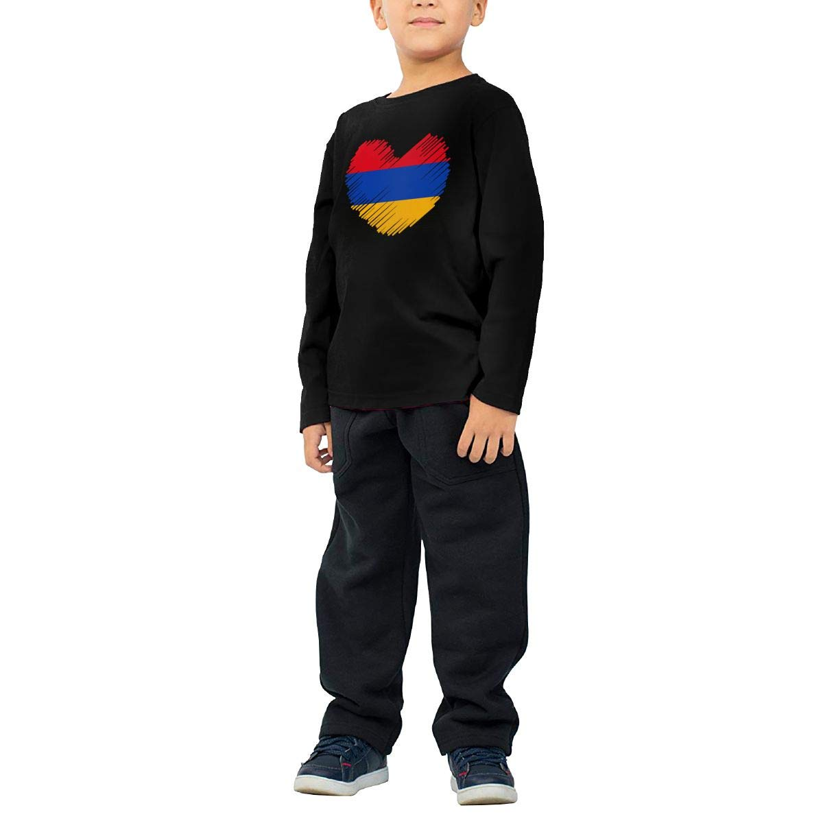 Toddler Armenia Flag in Heart Shape ComfortSoft Long Sleeve Shirt