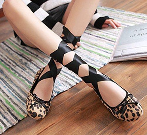 Easemax Womens Cute Bowknot Self-tie Low-cut Flats Dansschoenen Leopard