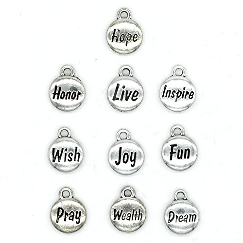 100PCS 10 Words Inspirational Charms Collection, Silver Tone Round Charm Pendants, Vintage Jewelry Supply Lot, C38 ()