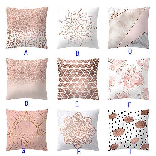 Mome ʕ •ᴥ•ʔ Beautiful Square Pillowcas ʕ •ᴥ•ʔ 1 PC Rose Gold Pink Cushion Cover Square Pillowcase-Home Decoratio-Car Ornament -Bedroom Decoration (D) by MOME~Christmas Decorations For Home (Image #2)
