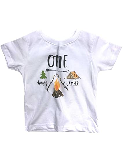 59a205b70 Amazon.com: Hello Handmade One Happy Camper First Birthday Baby Infant  Camping Shirt: Clothing