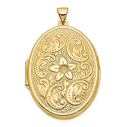 - 14k Yellow Gold 32mm Oval Flower Scrolls Photo Pendant Charm Locket Chain Necklace That Holds Pictures Fine Jewelry For Women Gift Set