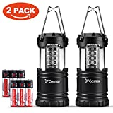 30 LED Ultra Bright Camping Lantern, Costech Portable Collapsible Lightweight Lighting Outdoor Adventure Hiking Light Lamp (Black 2 Pack)