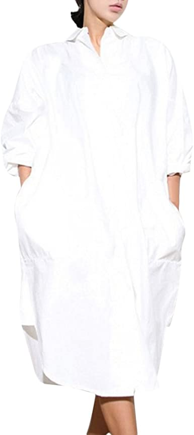 CHICFOR Straight Casual White Cotton Blouses Oversized Women Long Shirt Dress Top