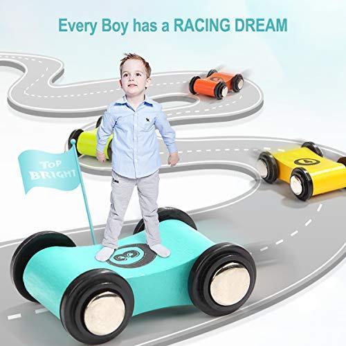 TOP BRIGHT Bois Grand Rampe Racer clic clac Piste de Course Set de Jeux avec 4 Course Voitures Petit Enfant Jouets
