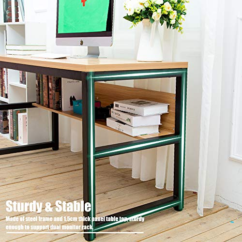 TOPSKY 55'' Computer Desk with Bookshelf/Metal Desk Grommet Hole Wire Cover (Oak_Brown+Black Frame) by TOPSKY (Image #7)