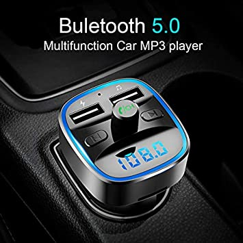 Leoie Dual USB Charger Bluetooth Car Handsfree Kit Wireless FM Transmitter Lossless MP3 Player with Type-c Fast Charging Port