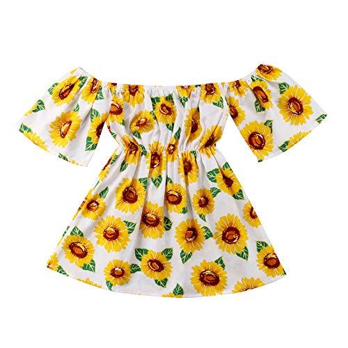 268a0016c Fillsion Newborn Baby Girls Sunflower Dress Off Shoulder Sundress Princess  Outfits Clothes