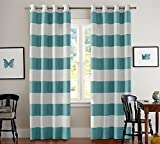 Aqua Curtains Turquoize Nautical Blackout Curtains(2 PANELS), Room Darkning, Grommet Top, Light Blocking Curtains, 52W by 84L Inch, Wave Stripes Pattern, Aqua, Sold by Pair