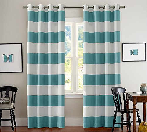 Authentic Turquoize Nautical Blackout Curtains 2 Panels Room Darkning Grommet Top Light