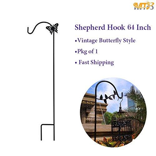 MTB Shepherd Hook 64 Inch with Butterfly,1/2 Inch Diameter, Ideal for Solar Lights Lanterns,Bird Feeders,Mason Jars and Plant Hangers,Pack of 1 (Also Sold as Pack of 6) by MTB Supply