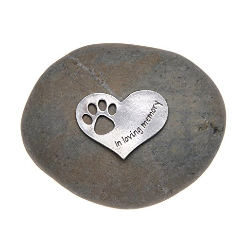Quotable Cuffs Pet Memorial Gift in Loving Memory Paw Print Stone for Dogs or Cats - Sympathy Remembrance Gift by Whitney Howard Designs