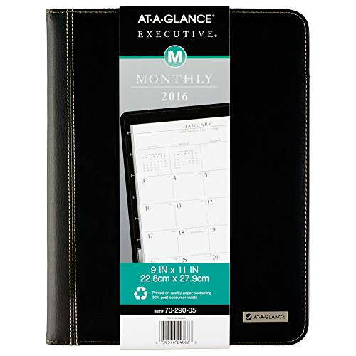 Executive Monthly Planner Padfolio - AT-A-GLANCE Executive Monthly Padfolio 2016, 13 Months, January – January, 9 x 11 Inch Page Size, Black (7029005)