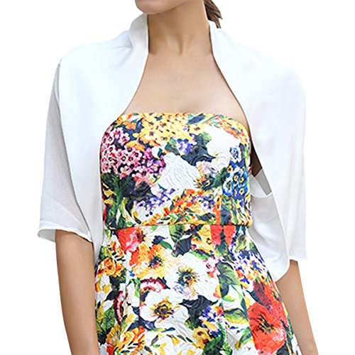 Sue&Joe Women's Bolero Shrug Satin Short Sleeve Open Front Formal Cropped Blazer, White, TagsizeXXXL=USsizeXL
