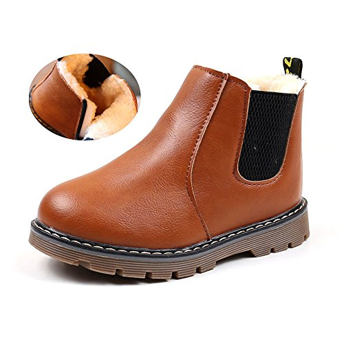 - Save Beautiful Baby Kids Boots Girl Boy Shoes Rain Hiking Winter Snow Booties (9.5 M US Toddler, A-R-Brown)
