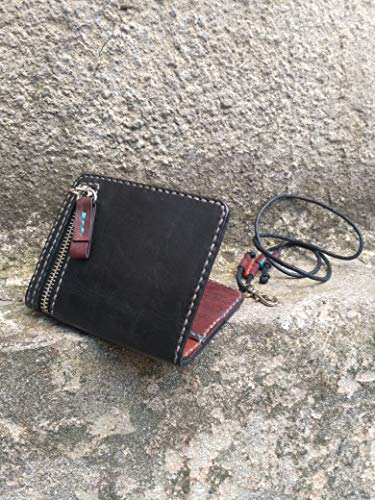 - Leather Handmade Men's Black and Brown Purses Miniature Pocket Purse, Horizontal Travel Portable Case for Money and Credit Card, Clutch with Hand Strap