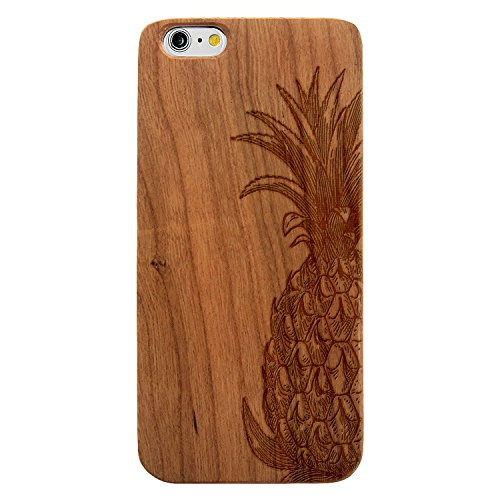 JewelryVolt Wooden Phone Case for iPhone 7 Plus Cherry Wood Laser Engraved Floral Fruit Pineapple Drawing Sketch
