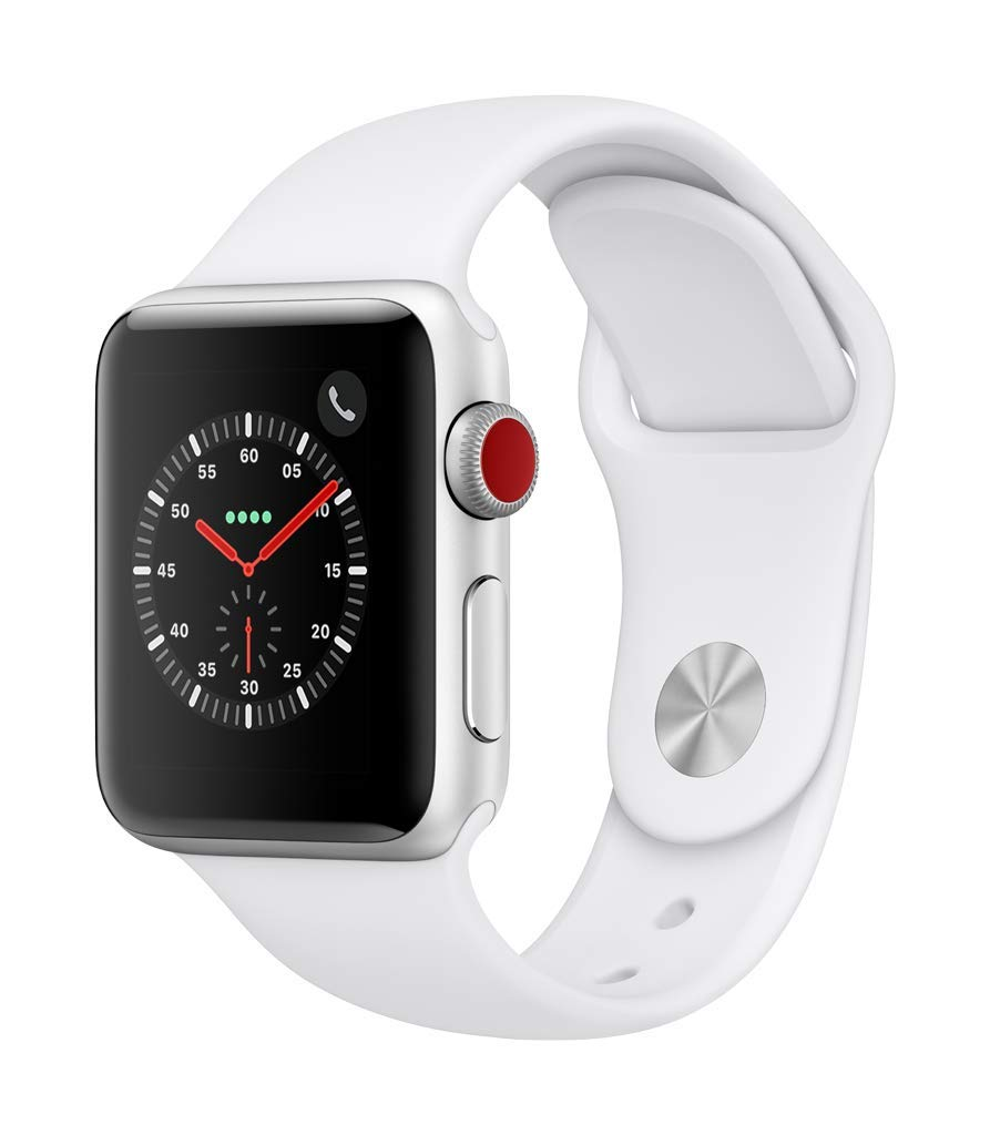 Apple Watch Series 3 (GPS + Cellular, 38mm) - Silver Aluminium Case with White Sport Band by Apple