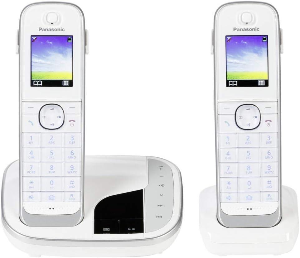 Panasonic KX-TGJ322 - Teléfono (Teléfono DECT, Altavoz, 250 entradas, Identificador de Llamadas, Servicios de Mensajes Cortos (SMS), Negro/Blanco) [versión importada]: Amazon.es: Electrónica