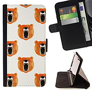 - Queen Pattern FOR Samsung Galaxy S6 EDGE /La identificaci????n del cr????dito ranuras para tarjetas tir????n de la caja Cartera de cuero cubie - bear watercolor roar orange whi