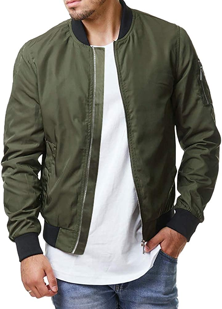 Enjoybuy Mens Lightweight Bomber Jackets Fall Winter Outerwear Full Zip Up Baseball Varsity Jacket at  Men's Clothing store
