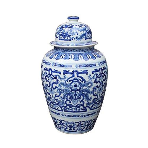 - Asian Decorative Ceramic Temple Jar Blue & White Dragon Design Decorative Storage Container
