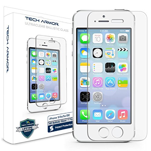Tech Armor Apple iPhone 5 Ballistic Glass Screen Protectors for Apple iPhone 5C / 5S / 5 / SE [1]