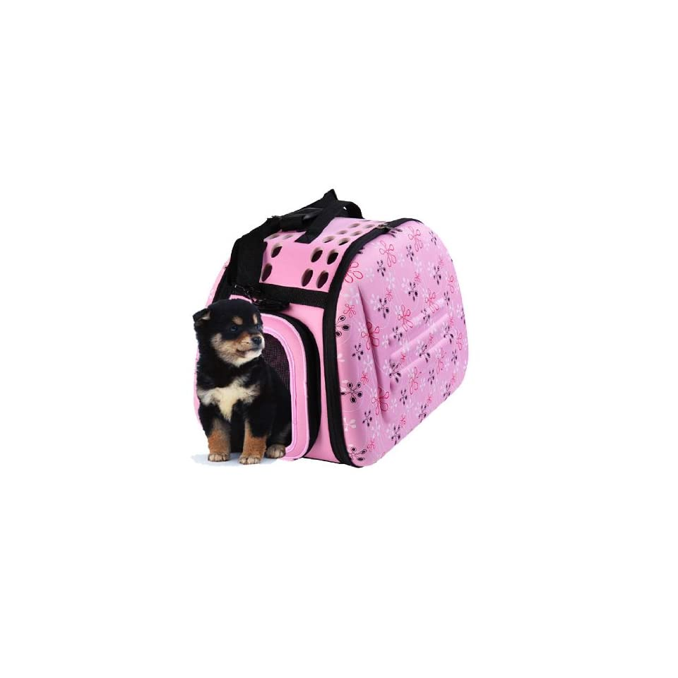 """Pawhut 17"""" Soft Sided Collapsible Pet Dog Carrier Bag   Pink  Soft Sided Pet Carriers"""