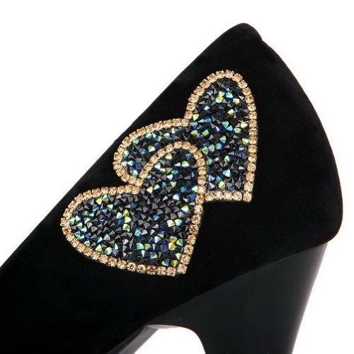 Schwarz Geschlossene Heel runde Womans Stilettos High UK Spikes Zehe VogueZone009 Pumps PU Solid Frosted 3 w5q7RT5