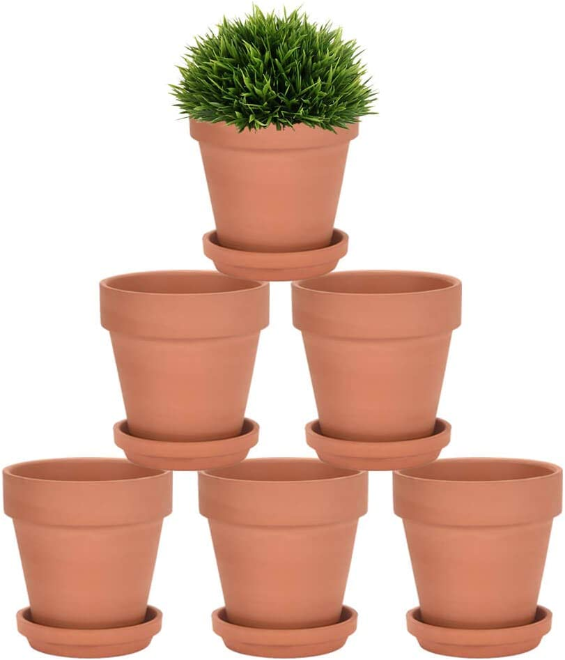 Riseuvo 4 Inch Terra Cotta Pots with Saucer - 6 Pack Clay Flower Pots with Drainage, Great for Plants, Crafts, Wedding Favor (4 Inch)