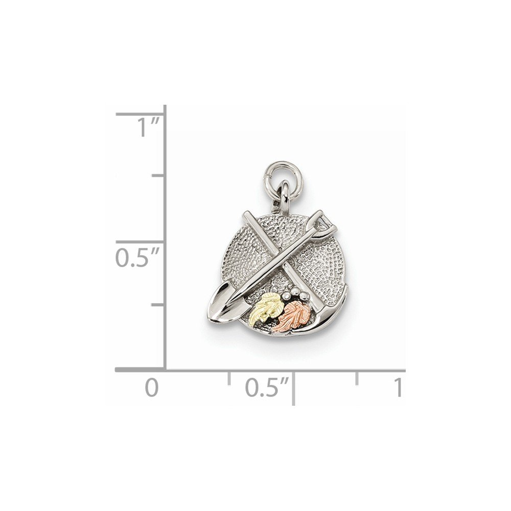 Jewelry Stores Network Sterling Silver 12K Accents Panning /& Shovel Charm 15x12mm