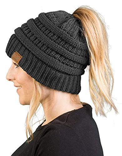 (BT-6020a-70 Messy Bun Womens Winter Knit Hat Beanie Tail - Charcoal)