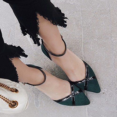 SJJH Fashion Sandals with Pointed Toe and Thin Heel Business Style Shoes with Large Green 8WhosHa5AG