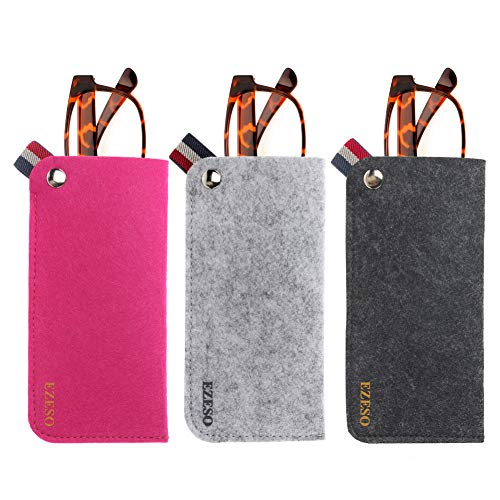 3 Pack Eyeglass Cases - Soft Felt Slip-in Pouch Case - Glasses Storage Case Makeup Pouch (Set A)