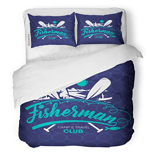 Semtomn Decor Duvet Cover Set Full/Queen Size Fish Fisher Club Saltwater Sport Badge Bait Bass Camp 3 Piece Brushed Microfiber Fabric Print Bedding Set Cover -