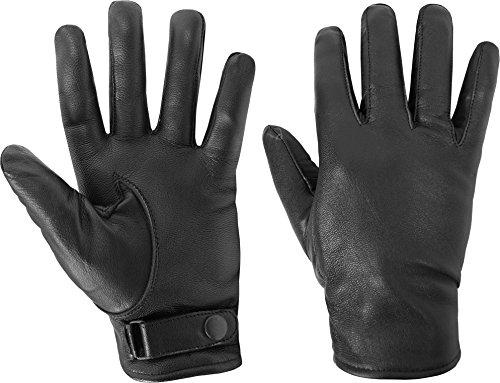 BW Lederhandschuhe gefüttert mit Druckknopfverschluss Farbe Schwarz Größe M