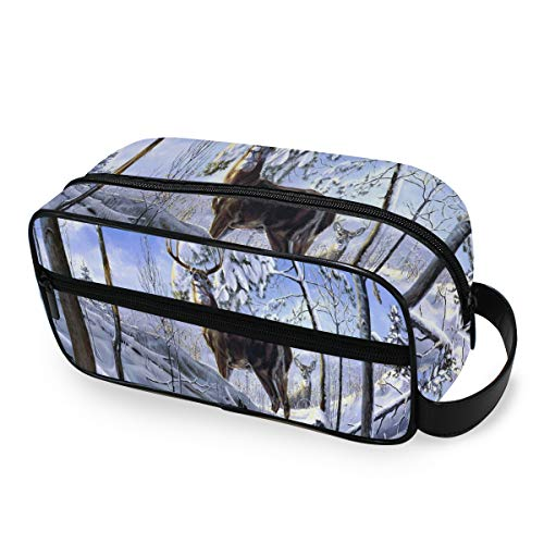 Portable Travel Toiletry Bag,Deer Winter Forest Snow Trees Cosmetic Organizer for Men Women Multifunctional Bathroom Shower Shaving Bags