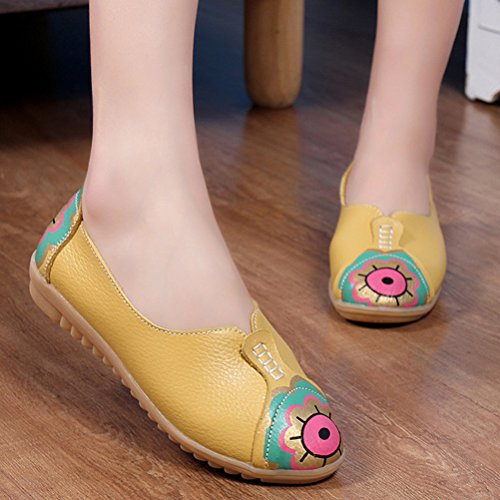 Mordenmiss Mujeres New Printed Moccsins Stylish Loafer Flats Amarillo