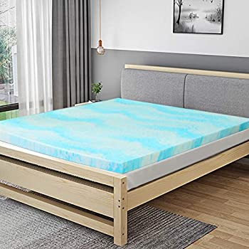POLAR SLEEP Mattress Topper Queen, 3 Inch Gel Swirl Memory Foam Mattress Topper with Ventilated Design CertiPUR-US Certified - Queen