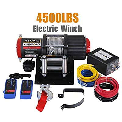 OPENROAD 4500 Lb UTV/ATV Winch,12V Electric Winch with 49ft Cable,Wireless Winch Kit for SUV (2pcs Handle Wireless Remote Control and Removable Control Box): Home Improvement