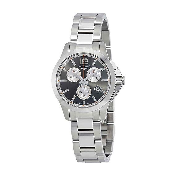 Longines Conquest L33794796 - Reloj cronógrafo para hombre, esfera plateada: Amazon.es: Relojes