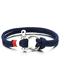 Mens Womens Steel Screw Anchor Shackles Nautical Sailor Navy Blue Rope Cord Wrap Bracelet Wristband