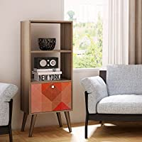 Manhattan Comfort Sami 2 Shelf Bookcase in Oak Stamp Gray